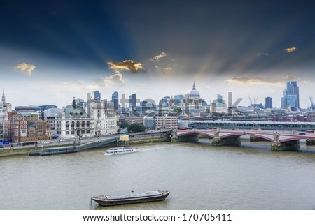 London skyline with background St. Paul Cathedral. - stock photo