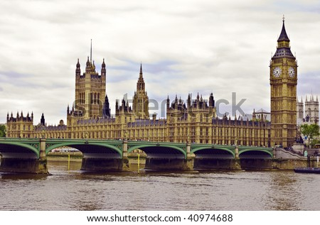 London skyline with Big Ben and House of Parliament - stock photo