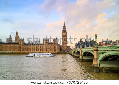 London skyline with Big Ben and Houses of parliament in UK. - stock photo
