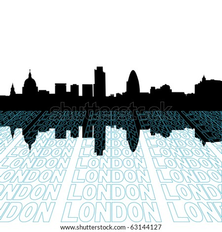 London skyline with perspective text outline foreground illustration JPEG - stock photo