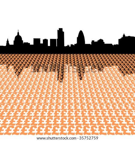 London skyline with pound symbols illustration JPEG - stock photo