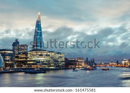 London Skyline with Shard Skyscraper at Twilight - stock photo