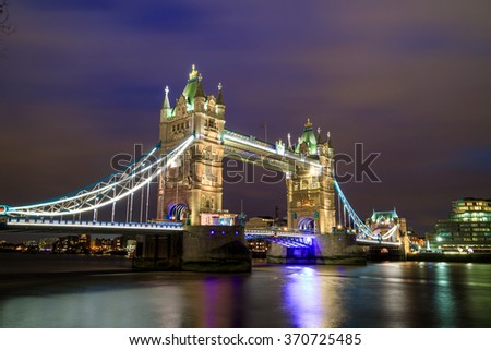 London skyline with Tower Bridge at twilight in UK. - stock photo