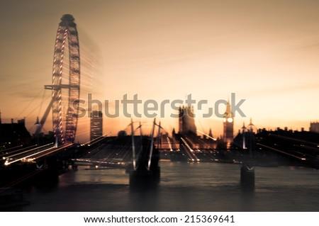 London skyline with zoom blur effect - stock photo