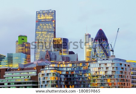 London skyscrapers at night, Britain, UK - stock photo