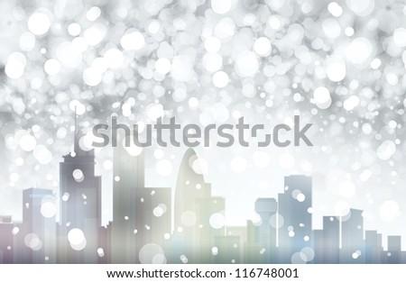 London snowy scene. - stock photo