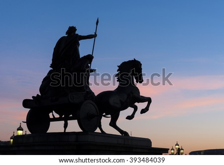 London Statue at Sunset