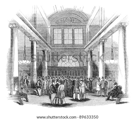 London Stock Exchange at Capel Court. Engraving by unknown artist from The Penny Magazine, january 1844. - stock photo