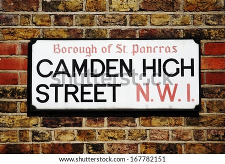 London Street Sign, Camden High Street, Borough of Camden  - stock photo