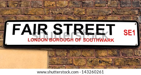 London Street Sign, Fair Street - stock photo