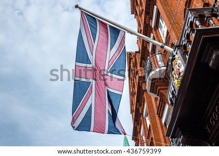 London streets/ London Flag - stock photo