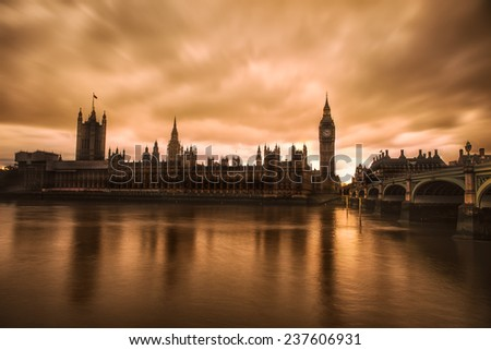 London sunset - stock photo