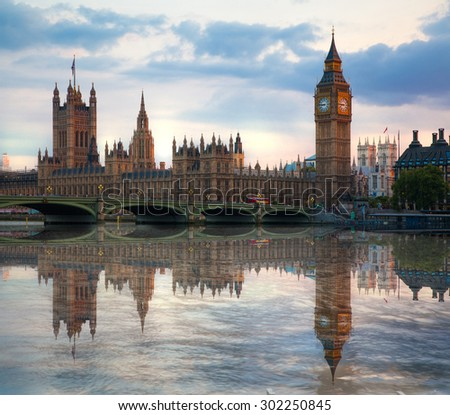 London sunset. Big Ben and houses of Parliament - stock photo