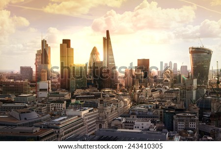 London sunset. View on business modern district - stock photo