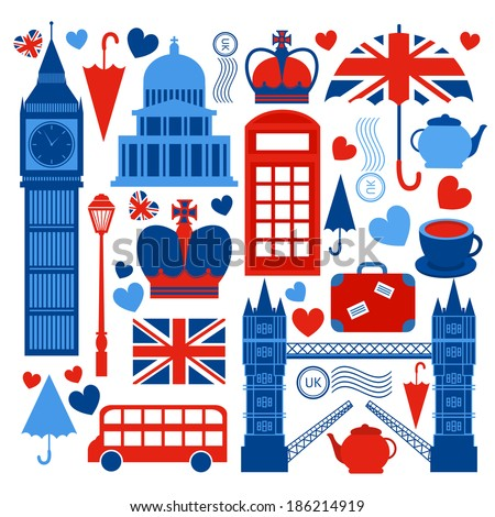 London symbols collection of tower bridge big ben and telephone booth culture isolated  illustration