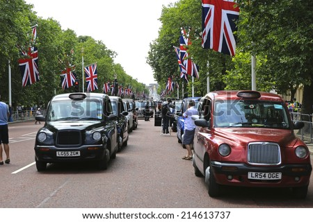 London Taxi Drivers Demonstration on 11th June 2014 against UBER in The Mall - London, UK