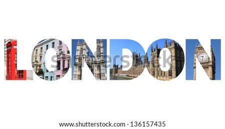 London text written with pictures of landmarks - stock photo