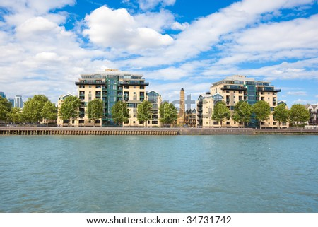 London. Thames river. Prestige urban district near greenwich. - stock photo