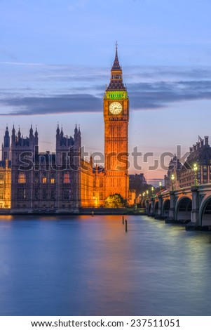 London, the House of Parliament and Westminster bridge at dusk  - stock photo