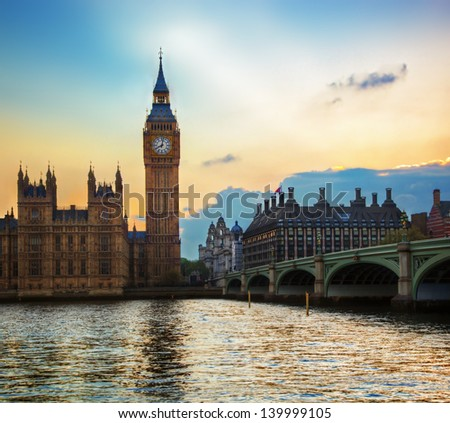 London, the UK. Big Ben, the Palace of Westminster at sunset. The icon of England - stock photo