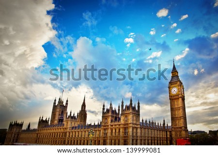London, the UK. Big Ben, the Palace of Westminster. The icon of England - stock photo