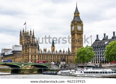 LONDON,THE UK-CIRCA MAY 2016: view on Big Ben and the Houses of Parliament from the Thames river