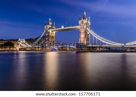 London, Tower Bridge after sunset