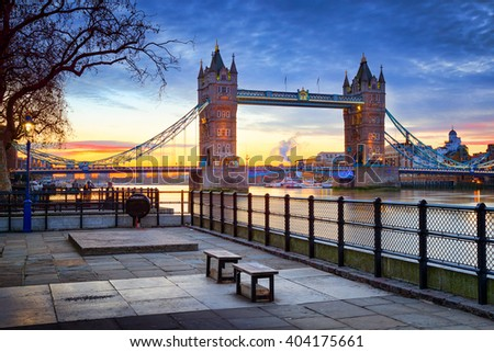 London Tower Bridge and Thames river viewed at sunrise in London, England. - stock photo