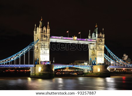 London Tower Bridge at night - stock photo