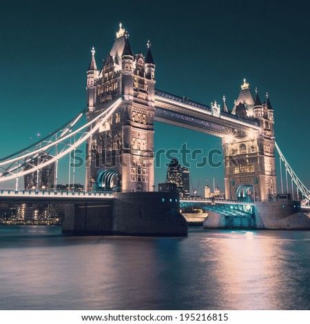 London, Tower bridge at night, square composition, tinted image - stock photo