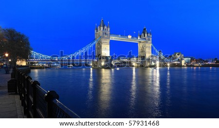 London Tower Bridge by night, Great Britain - stock photo