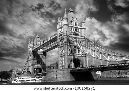 London Tower Bridge in black and white style, England - stock photo