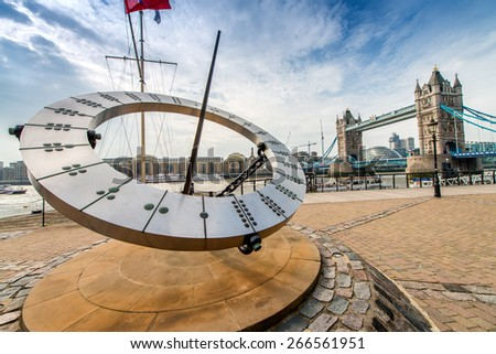 London. Tower Bridge structure on a sunny day. - stock photo