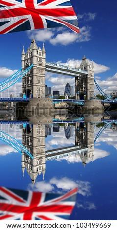 London Tower Bridge with flag of England - stock photo