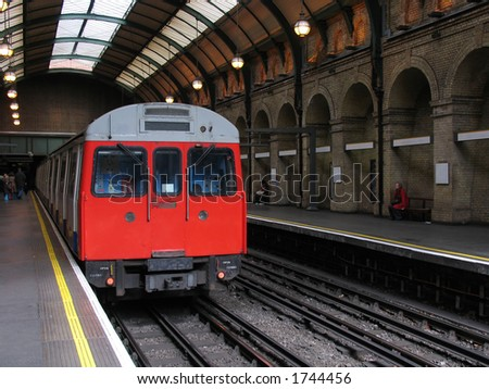 London Tube Train in Vintage Underground Station