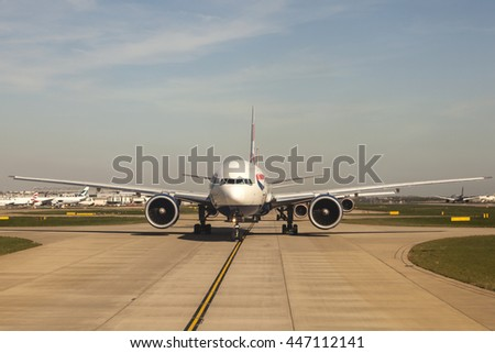 LONDON, UK - APR 20, 2016: British Airways Airbus A320 at the runway in London Heathrow international airport. Hillingdon, England, United Kingdom.