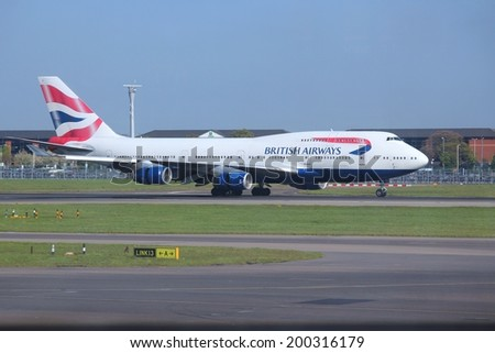 LONDON, UK - APRIL 16, 2014: British Airways Boeing 747 after landing at Heathrow airport. BA operates fleet of 283 aircraft (largest in the UK) and is largest operator of 747 with 55 aircraft (2014). - stock photo