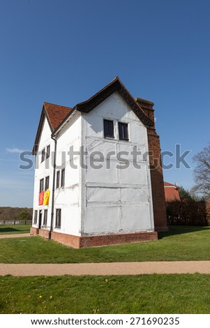 LONDON, UK - APRIL 15, 2015: Queen Elizabeth's Hunting Lodge is a unique example of a surviving timber-framed hunt standing still surrounded by its medieval royal hunting forest. - stock photo