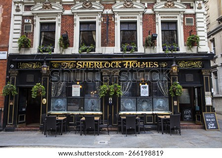 LONDON, UK - APRIL 1ST 2015: The traditional exterior of the Sherlock Holmes public house on Northumberland Street in Westminster, London on 1st April 2015.