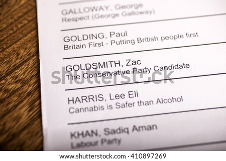 LONDON, UK - APRIL 25TH 2016: Zac Goldsmith on a ballot paper for the Mayor of London Election, taken on 25th April 2016.  He is the Conservative Party candidate for the 2016 London Mayoral election.