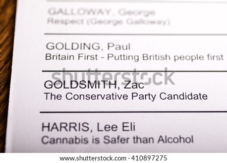 LONDON, UK - APRIL 25TH 2016: Zac Goldsmith on a ballot paper for the Mayor of London Election, taken on 25th April 2016.  He is the Conservative Party candidate for the 2016 London Mayoral election. - stock photo
