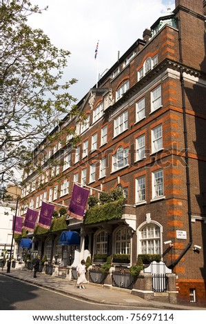 LONDON, UK - APRIL 20: the Goring Hotel where Miss Catherine Middleton, and her immediate family, will spend the night before the Royal Wedding of April 29, April 20, 2011 in London, United Kingdom - stock photo