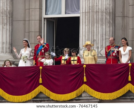 LONDON, UK - APRIL 29: The Royal family appears on Buckingham Palace balcony after Prince William and Kate Middleton wedding, April 29, 2011 in London, United Kingdom - stock photo