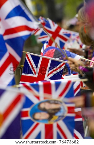 LONDON, UK - APRIL 29: Union Jacks and wedding flags line the Mall for the royal wedding of Prince William and Catherine Middleton on the April 29, 2011, in London, UK - stock photo