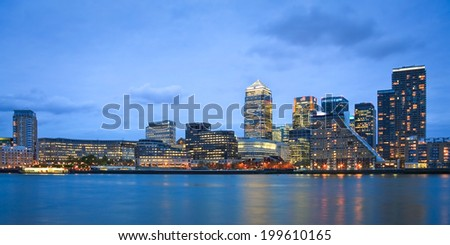 London, UK - April 13 2011: View of the Canary Wharf from Canada Water.