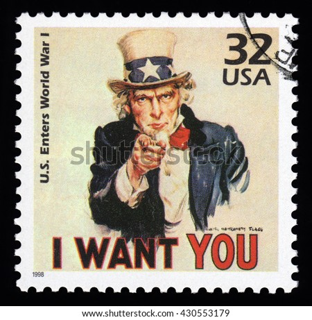 London, UK, April 14 2011 - Vintage 1998 United States of America cancelled postage stamp  showing an image of Uncle Sam from World War One saying I want you - stock photo