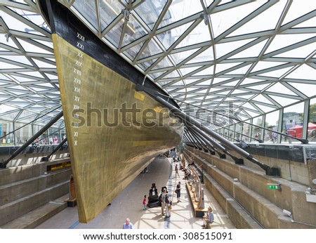 LONDON, UK - AUG 2: Cutty Sark in London on August 2, 2015 in London, UK. Built on the Clyde in 1869, it was one of the world's fastest tea clippers.