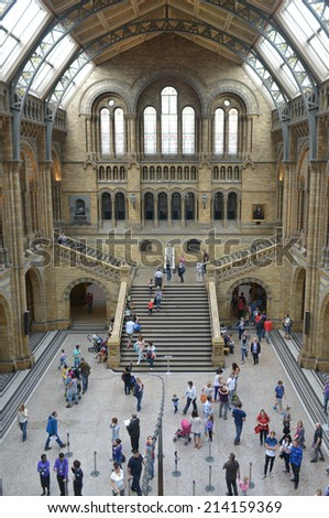 LONDON, UK - AUG 30, 2014: The interior of the Natural History Museum in London, The museum is home to life and earth science specimens comprising some 70 million items within five main collections. - stock photo