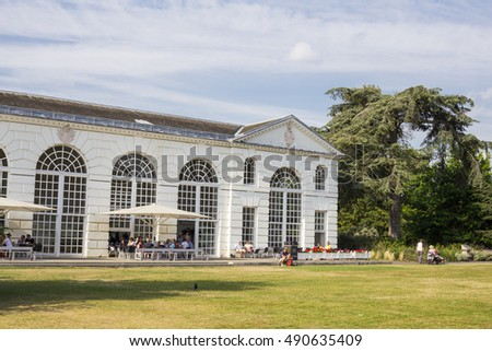 LONDON, UK - AUG 16, 2016: The Orangery House in Kew Gardens, London, Uk. Designed by Sir William Chambers, it is currently used as a restaurant.