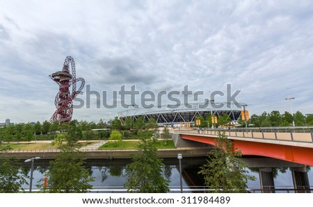LONDON, UK - AUG 24, 2015: The Stadium at Queen Elizabeth Olympic Park, commonly known as the Olympic Stadium, is a stadium located in Stratford, London, England. - stock photo
